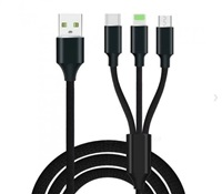 Product Image of Generic High Speed Nylon 2.4A Fast Charging 3 in 1 Type-C + 8 Pin + Micro USB Cable - Black